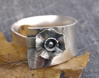Sterling silver ring flower ring Silver ring wide band ring 925 Made to your ring size floral ring handmade jewelery