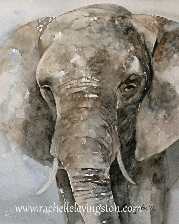 Large Elephant PRINT art Africa Home Decor 11 x14 Watercolor Elephant art Painting baby nursery decor wall decor grey blue gray brown jungle