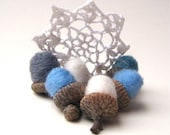 Winter Snow Felted Wool Acorns SET of 12 - Eco Friendly Rustic Home Decor - White, Blue and Gray - Holidays Hostess Favours - SewnNatural