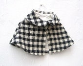 Girls Wool Cape in Squares and Checks with Peter Pan Collar - Spring Fashion Capelet  Size 3T to 5T - Black White Shrug (Ready to Ship)
