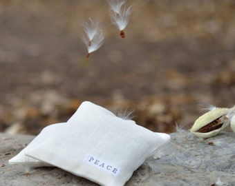 Peace Balsam Sachets SET of 2 - Hand Stamped White Linen Aromatic Eco Friendly Sachet Pillows - Rustic Home Decor