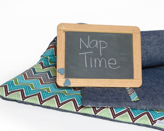 Organic Nap Mat- Napmat in Blue and Green Chevron- Preschool Napmat, Toddler Nap Mat, Eco-Friendly, Modern Kids