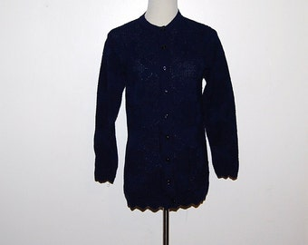 Vintage Sweater Navy Cardigan Pointelle