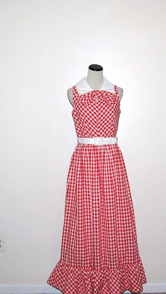 Vintage Dress Red Bow with White