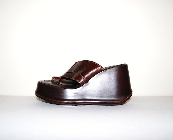 Vintage Shoe Chunky Brown Sandal