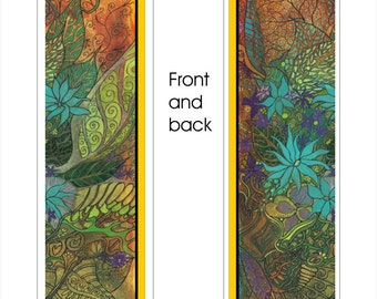 """Victorian Jungle Bookmark - 2"""" X 8"""" - Pen and Ink - Laminated"""