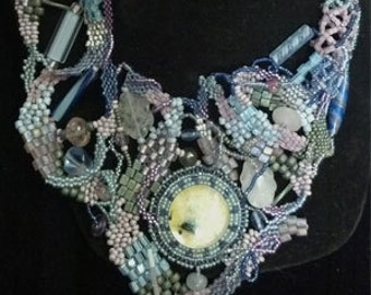 Light Blue hand beaded sculptural Necklace