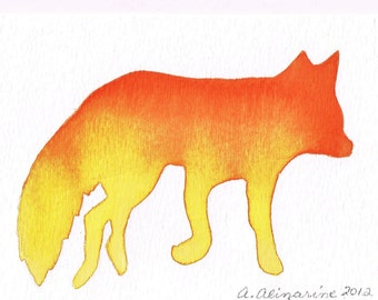 Watercolor, Firey Fox Silhouette - Orange Yellow Ombre, 4 x 6