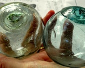 Glass fishing floats, small green, aqua glass balls, set of 2