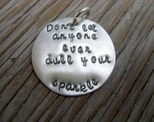 Hand stamped charm 1-inch tasty tag sterling silver custom- stamped with your words/phrases/names pebbleandore
