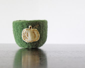 from the pumpkin patch - green felted wool bowl with eco felt ghost pumpkin - Thanksgiving home decor, autumn decor, gardening