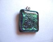 Dichroic glass pendant purple and green emerald pendant purple glass jewelry square modern