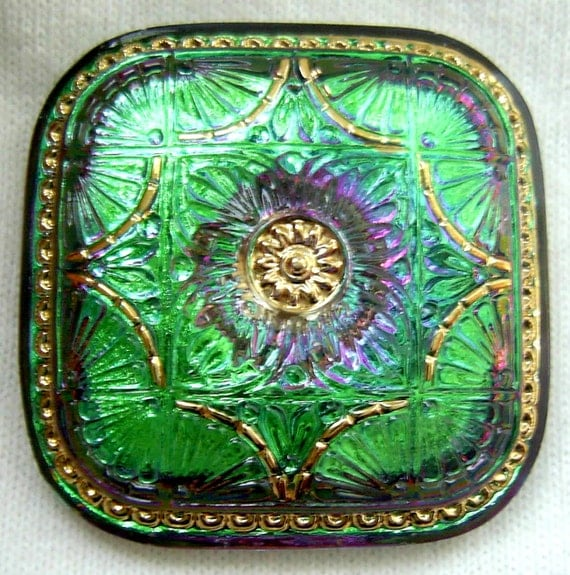 LG Czech Glass Button - Square Emerald Green Mirror Back Floral w/ Gold Luster