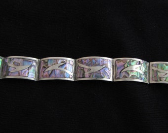 Vintage Mexican Sterling Silver and Abalone Marked Bracelet