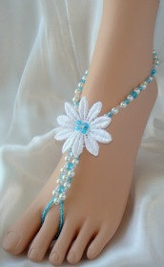 Single Flower Beach Barefoot Sandals Foot Jewelry for Beach Bride and Bridesmaids, Wedding Sandals. *FREE SHIPPING* Made in ALL Colors!