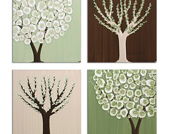 Woodland Nursery Tree Square Canvas Art Paintings - Green and Brown Wall Art - Set of Four - Medium 25x25