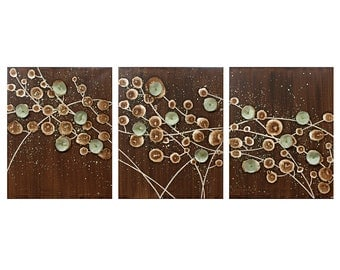 Nature Wall Art Abstract Painting on Canvas - Brown and Green Triptych - Flower Art - Large 50x20