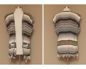 Handmade Knit Mexican Poncho Vest, one size