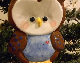 Owl Christmas Ornament  - Ceramic  Glazed   brown with Blue tummy