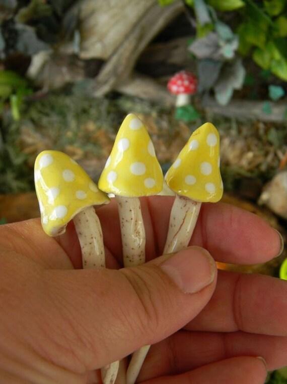 3 ceramic mushroom miniatures 3 yellow pixie  amanita muscari .. ..  terrarium or miniature gardens