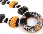 African Savannah - Beadwoven Unique Bumpy Peyote Necklace One of a Kind Beaded