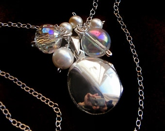 Sterling Silver Pearls and Bubbles Locket