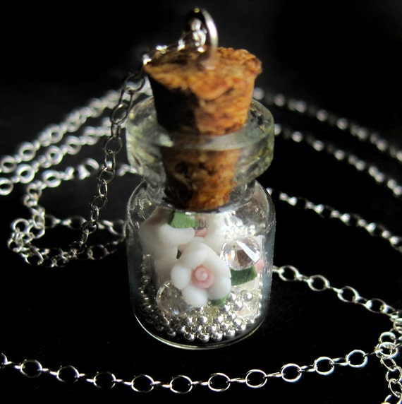 Sterling Silver Wish Jar Necklace with Polymer Roses and Cubic Zirconia Diamonds