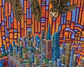 Owls Over Windy City (Chicago Skyline aerial view) 5x7 Art Print by Anastasia Mak