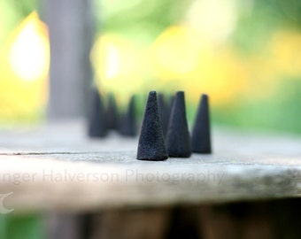 Amber 20 Charcoal Incense Cones - Super High Quality Scented Cones Handmade Aromatherapy Gift -  READY TO SHIP