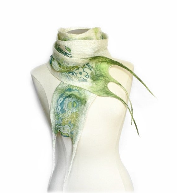 Nuno Felt Scarf - Blue, Chartreuse Green and White Printed Silk and Soft Wool - Handmade Fashion Accessory - READY TO SHIP