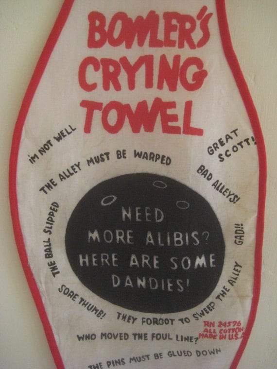 Vintage Bowler's Towel, Kitschy Crying Towel, Bowling Towel, Printed Novelty Towel, Bowling Pin Shape, Red and Black Graphics