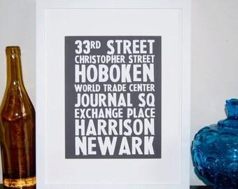 Subway stops, typography print, vintage sign, NYC, Paris or London, Art Print 5 x 7 size