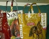 Lot of 2 upcycled feed sack, turned into market bags.