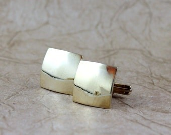 Vintage Cufflinks - Bright Gold Tone Finish - Vintage Men's Jewellery - Formal Wear Accessory - Grooms Gift