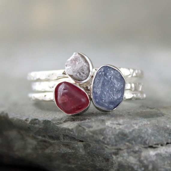 Stacking Rings - Rough Blue Sapphire, Rough Diamond, Rough Red Spinel - Sterling Silver Trio - Handmade and Designed by A Second Time