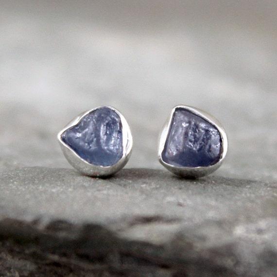 Uncut Raw Rough Blue Sapphire Earrings - Sterling Silver Stud Style - Rustic Round Shape - Bezel Set -  Post Style Earring