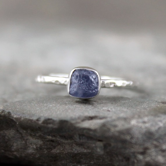 Uncut Raw Rough Blue Sapphire Ring - Sterling Silver Solitaire  -  Bezel Set - September Birthstone
