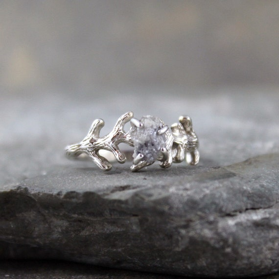 Raw Uncut Rough Diamond Solitaire and 925 Sterling Silver Branch Ring -  Artisan Jewellery - Handmade and Designed by A Second Time