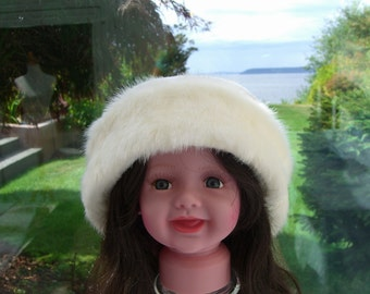 Child's White Mink Faux Fur Hat, Girl's Winter Fur Hat, Girl's Fur Hat, Fleece and Fur Hat