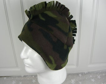 Camouflage MOHAWK HAT, Men's fleece hat, Men's Winter Hat,  Camouflage Hat