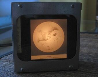 MARS ARTIST'S RENDERING - Vintage magic lantern glass slide light box