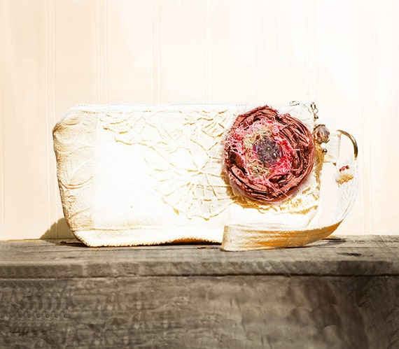 Berry a la Mode Keepsake Wristlet  - off white cream dusty pink tattered silk rose - vintage lace zipper pouch ..shabby chic cottage