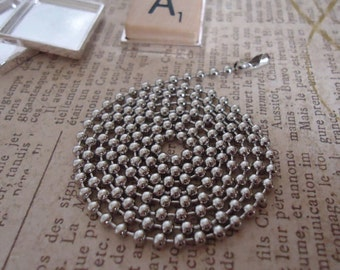 100 Antique Silver Ball / Bead Chains with Connectors 24 inches long