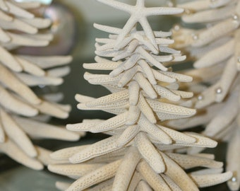 5 and 7 inches Beach Christmas tree made of starfish sea stars