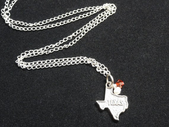 Texas Longhorns Sterling Silver State Map Charm Pendant Necklace