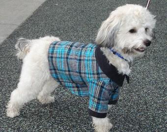 Aqua Plaid Dog Shirt