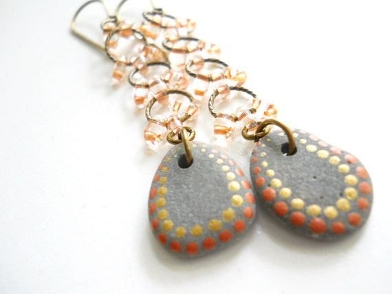 Stone and Glass Beaded Southwestern Earrings, Natural Painted Stone, Salmon, Gold, Gray, Dangle Earrings, Rustic Jewelry