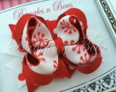Small Christmas Snowflake Red and White Stacked Boutique Hair Bow