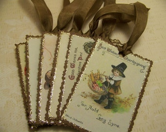 Thanksgiving Tags - Vintage Style - Set of 6