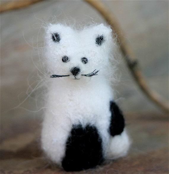 White Arctic Fox eco friendly angora wool needle felt (woolcrazy)